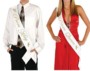 Ikooo 2 Pcs Prom King and Queen Satin Sash Gold letter with Crown Sash  sc 1 st  Amazon.com & Amazon.com: Ikooo 2 Pcs Prom King and Queen Satin Sash Gold letter ...