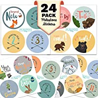 Monthly Baby Stickers - Huge 24 Pack of Baby Boy Onesie Belly Stickers. Includes 12 months, 1st year milestones & first holidays. Perfect baby shower & newborn birthday gift. (Woodland)