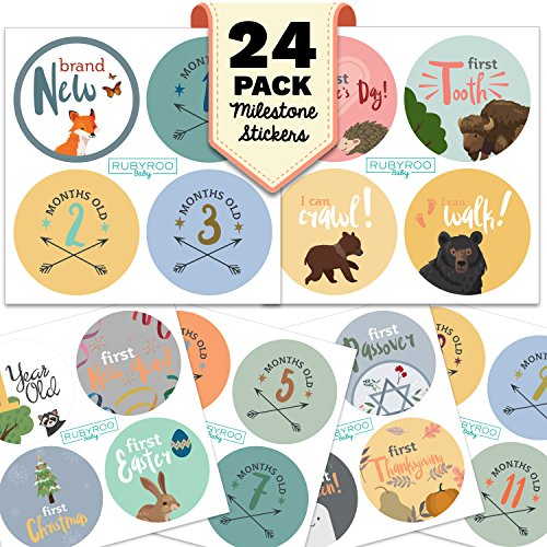 Monthly Baby Stickers – Huge 24 Pack of Baby Boy Onesie Belly Stickers. Includes 12 months, 1st year milestones & first holidays. Perfect baby shower & newborn birthday gift. (Woodland)