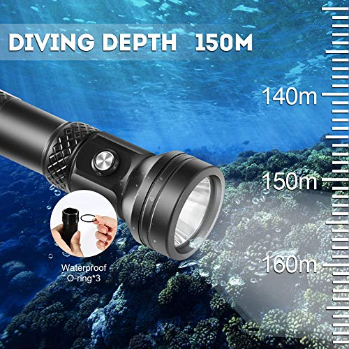 VOLADOR Scuba Diving Flashlight, 4000 Lumen Underwater Dive Light with Power Indication, CREE XHP 70 LED IPX-8 Waterproof Night Dive Torch, Rechargeable 26650 Battery, Charger, Lanyard