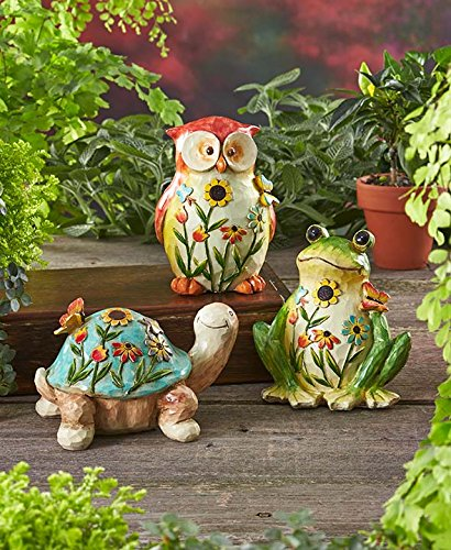 Set of 3 garden friends snail owl frog whimsical easter for Whimsical garden statues