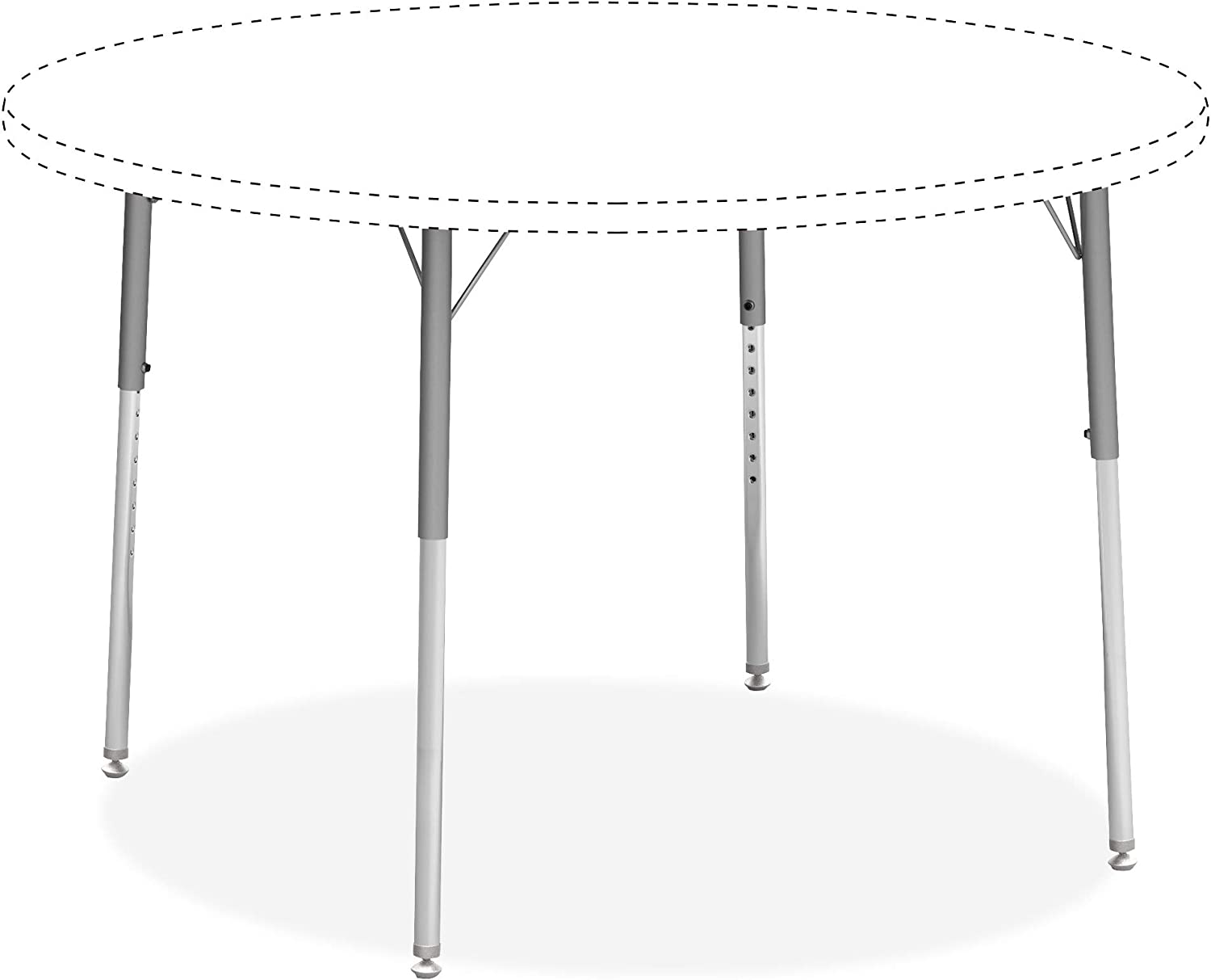 Lorell Classroom Activity Table Standard Height Adjustable Kit Leg, Chrome, Silver Mist
