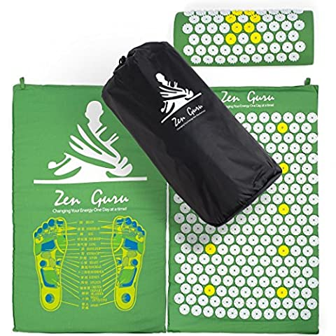 Best Acupressure Mat & Pillow Set - SALE - Effective Remedy for Pain and Stress Relief - With Magnet Therapy - FREE BONUSES: Carry Bag & Reflexology Foot Chart - LIFETIME MONEY BACK - ZenGuru - Low Target Sets