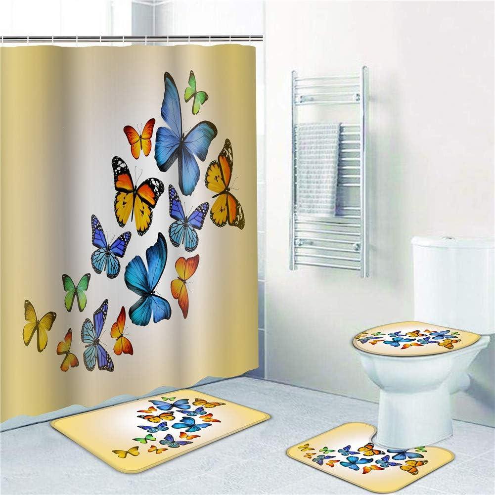 Blue Butterfly Art Shower Curtain Bathroom Decor Set Waterproof Polyester Hooks