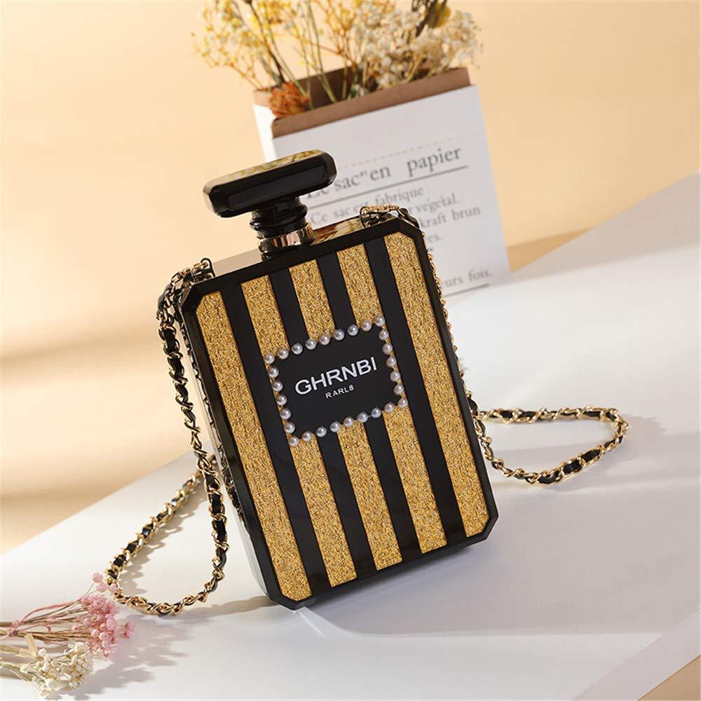 Mujeres acrílico negro PARIS botella de perfume en forma de bolsos de noche bolsos de embrague banquete bolso de mano bolso de hombro ocasional bolso de ...