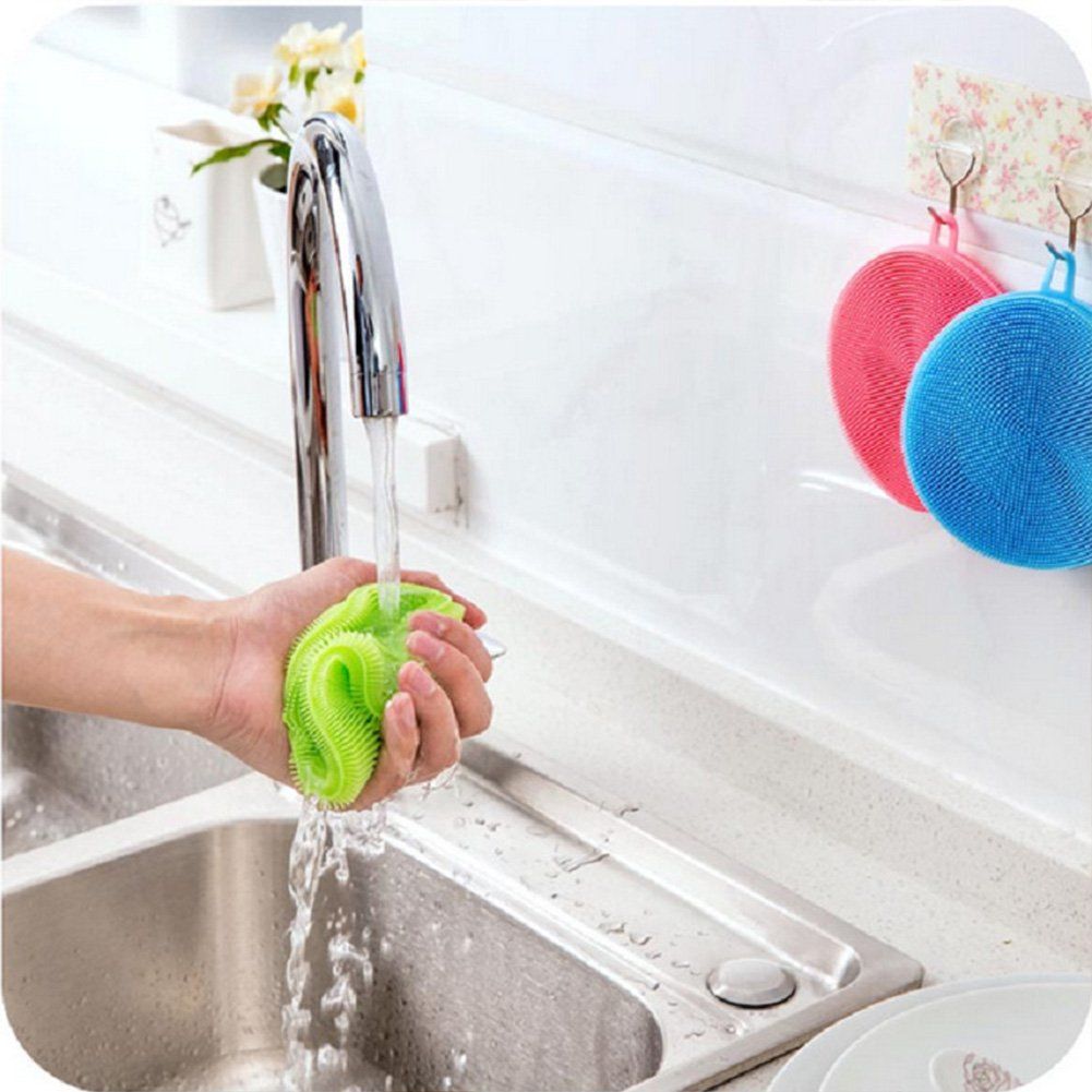 Silicone Dish Wash Sponge Scrubber Soft Cleaning Antibacterial Brush for Washing Pot, Pan, Bowl, Fruit and Vegetables Kitchen Tools(1111cm,Yellow)