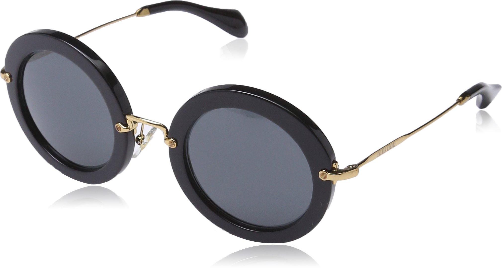 Miu Miu Women's MU 13NS Designer Sunglasses, Black