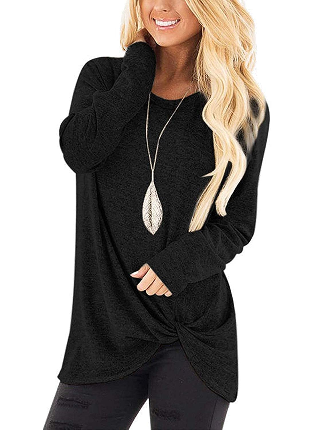 Black Women's TShirts Long Sleeve O Neck Comfy Knot Twist Front Tunic Blouse Tops
