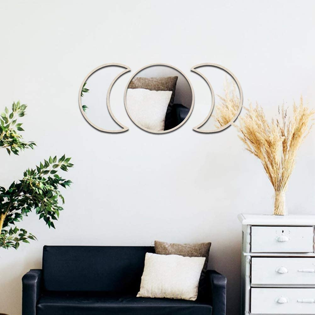 5&3pcs Scandinavian Natural Decor Acrylic Moonphase Mirrors Interior Design Wooden Moon Phase Mirror Bohemian Wall Decoration for Home Living Room Bedroom Decor - No Need to Punch-wood-3set