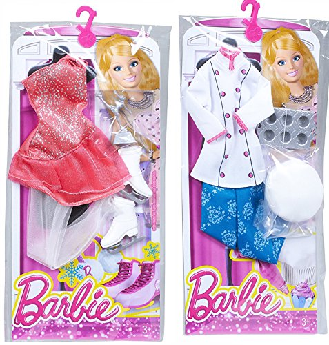 Barbie Careers Fashion Clothing Sets, Includes, Pastry Chef, Ice Skater (Homemade Indian Boy Costumes)