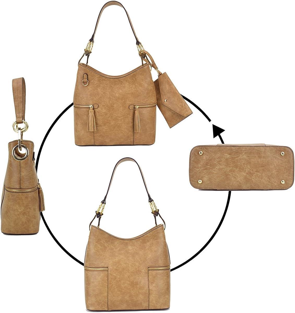 Women Fashion Hobo Shoulder Bags Vegan Leather Tote Purses Bucket Handbags with Big Snap Hook Matching Wristlet
