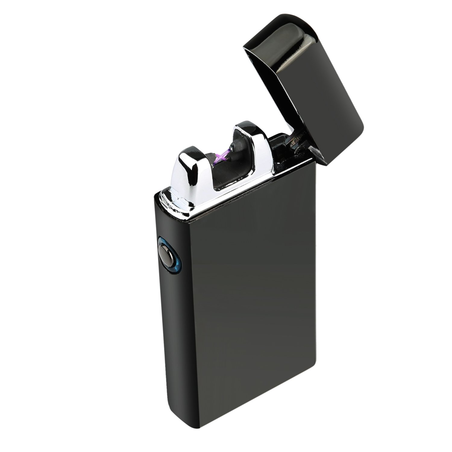 Ruiwo Tesla Coil Lighters Metal Rechargeable Windproof Flameless Electric Dual Arc USB Lighter (Black) by Ruiwo (Image #1)