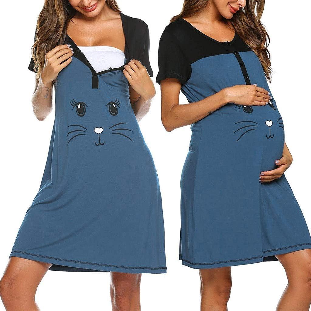 Pigiama Premaman,Allattamento maternit/à Pyjamas con Stampa Animali Abbigliamento Premaman Vestiti-foshsh