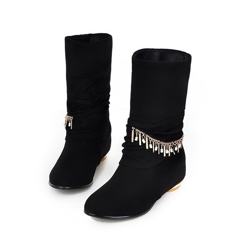 WeiPoot Womens Low-Heels Round Closed Toe Frosted Mid-Calf Boots