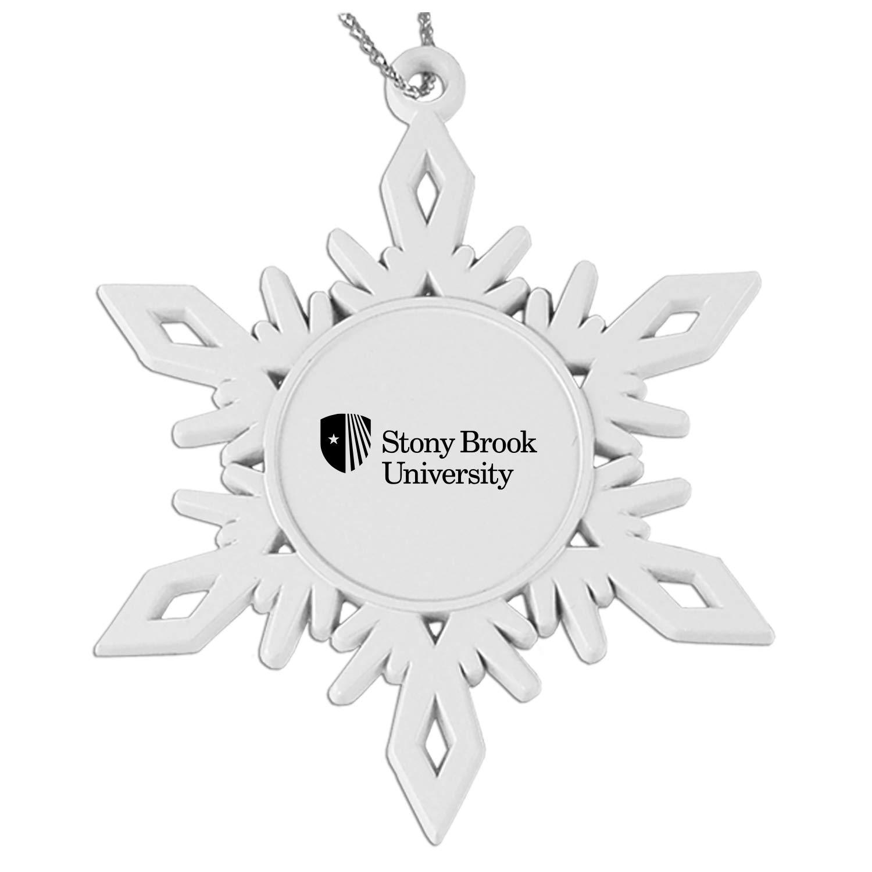 Stony Brook University Snowflake Pewter Ornament White
