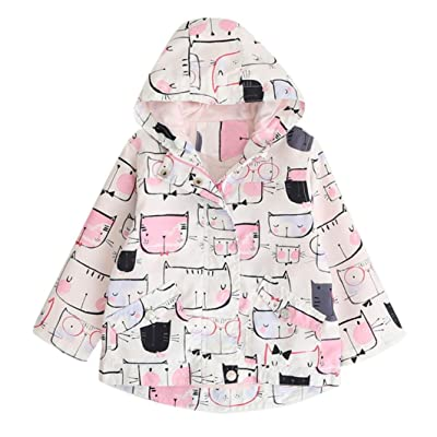 3-7 Years old Odeer Baby Girls Cartoon Hooded Coat Jacket Warm Zipper Trench Outwear Clothes