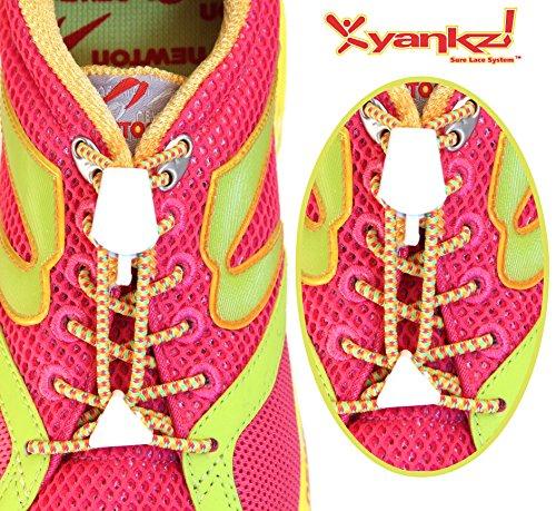 Shoe Sure White Laces Multi Lace Color Yankz Elastic Round with wBRpwqI