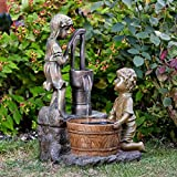 garden mile Vintage Bronze Effect Boy and Girl Hand Pump Cascade Garden Water Feature. Self Contained Garden Water Fountain Ornament.