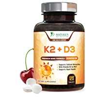 Vitamin K2 (Mk7) with D3 Supplement - High Potency Vitamin D Complex, Chewable for Better Absorption, Made in USA, Support for Your Heart, Bones & Teeth, Non-GMO - 120 Veggie Tablets