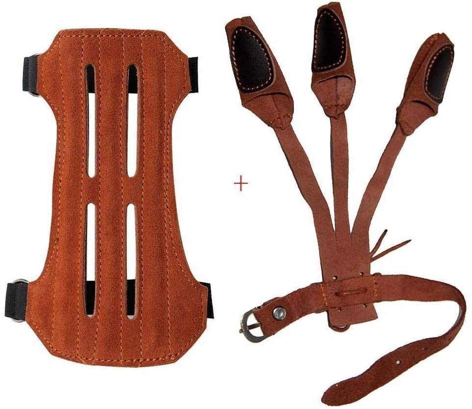 Toparchery Leather 2 Straps Arm Guard & 3 Finger Protective Gloves for Recurve Compound Long Bow Hunting Shooting Brown : Sports & Outdoors