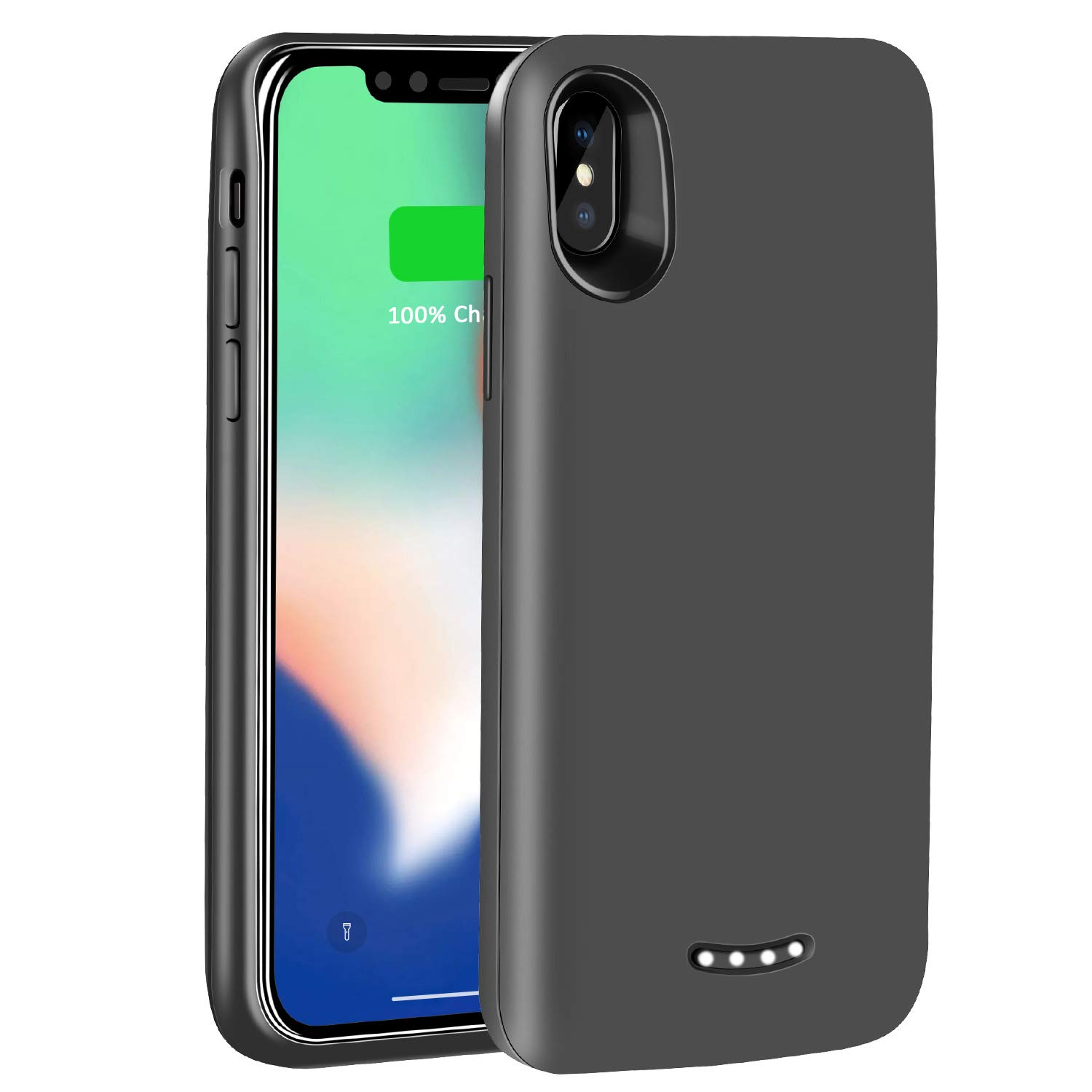 iPhone X Battery Case - Tech Care 6000mAh Portable Charging Case Rechargeable Protective Extended Battery Juice Pack for iPhone X 5.8 inch (Black) by Tech Care (Image #1)