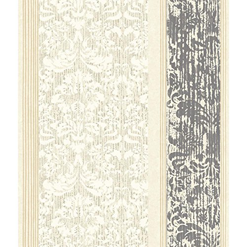 (York Wallcoverings Black & White Damask Stripe Wallpaper 8 X 10 Memo Sample, , Cream/White/Charcoal/Dark)