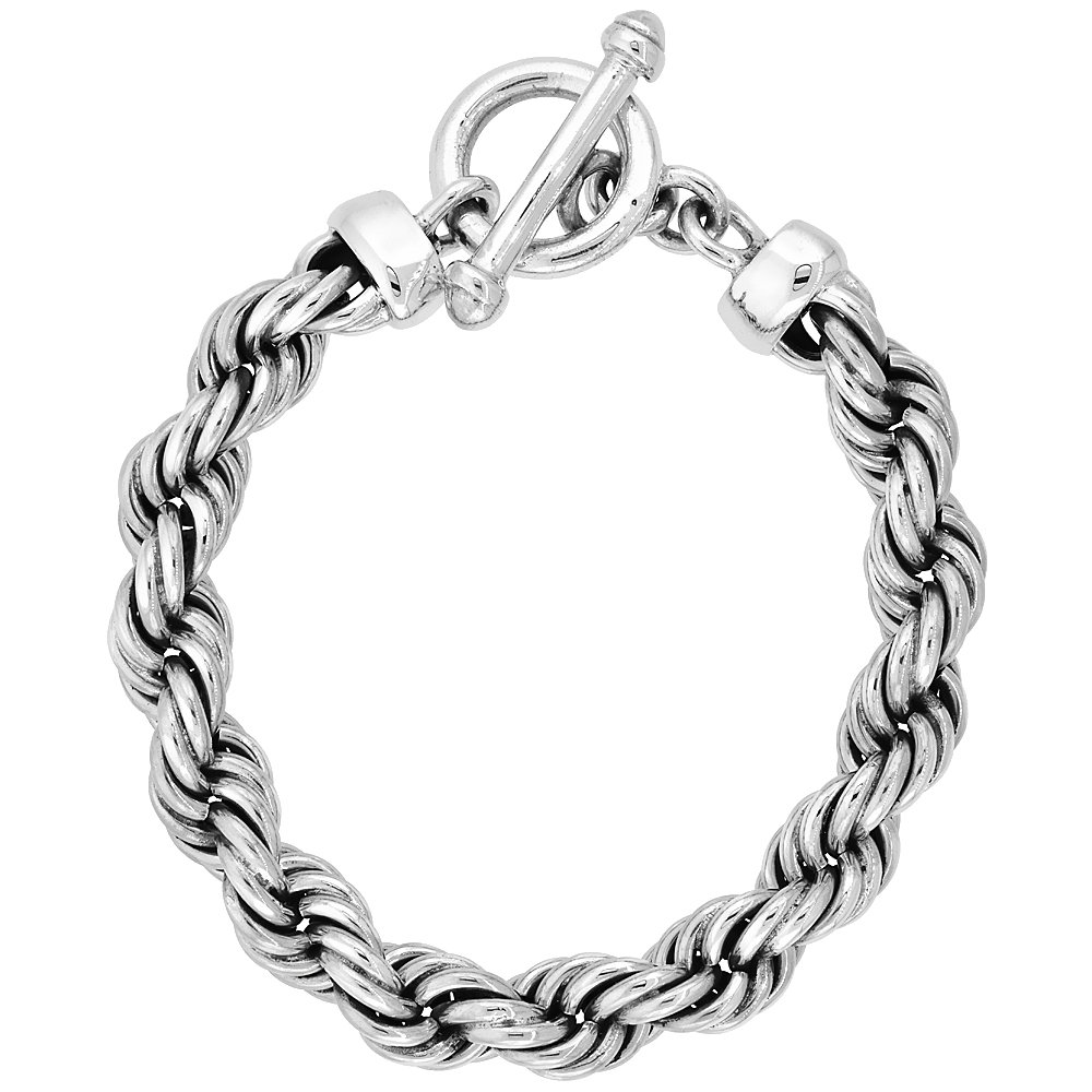 Sterling Silver Handmade Heavy Rope Bracelet Toggle Clasp 3/8 inch wide, 8 1/2 inch