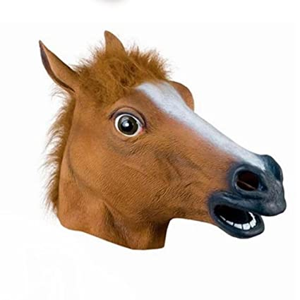 Tinksky Full Head Mask Horse Head Mask Creepy Fur Mane Latex Crazy Rubber Super Creepy Party