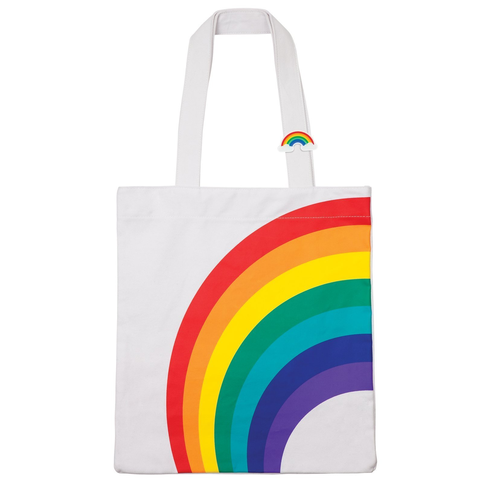 Sunnylife Cotton Canvas Open Tote Beach Bag Carry All - Rainbow White