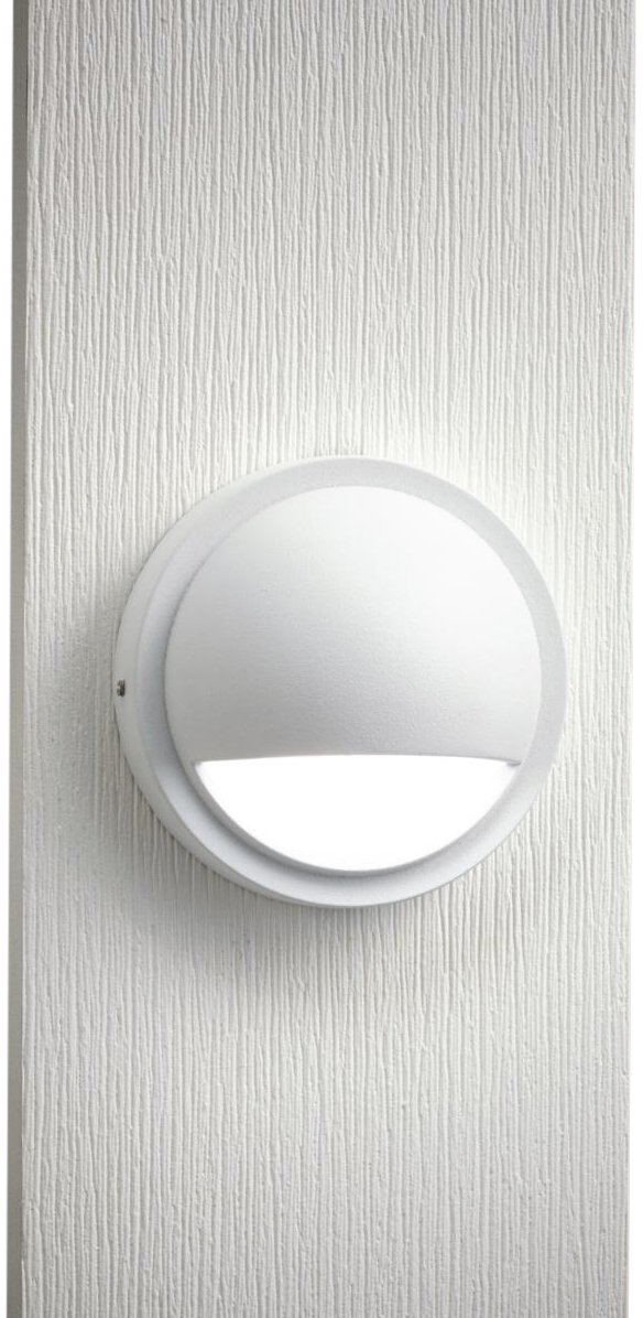 Kichler Lighting 15764WHT LED Half Moon Low Voltage Deck and Patio Light, Textured White with Satin-Etched Lens