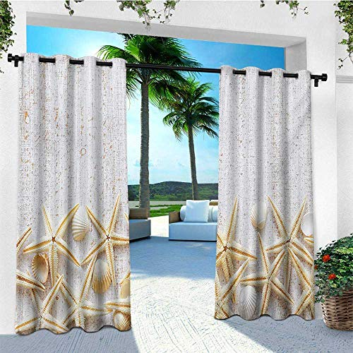 (leinuoyi Seashells, Outdoor Curtain Ties, Shells on Timber Pattern Tropical Honeymoon Getaways Classic Marine Theme, for Gazebo W108 x L96 Inch Pearl Ivory)