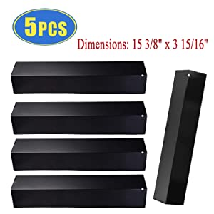 """Bigbox Set of 5 Heat Plate Shields for Brinkmann 810-3660-S, 810-2511-S, 810-2512-S Grill Replacement Parts, 15 3/8"""" Porcelain Steel Gas Grill Heat Tent Flame Tamer Replacement for Uniflame, Aussie."""