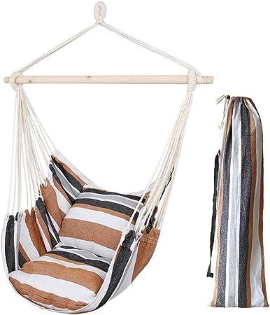 Hamaca sillón colgante de Algodón con 2 Almohada - hamaca silla con soporte para Playa Piscina Jardin Camping, Capacidad 120kg, Marrón: Amazon.es: Hogar