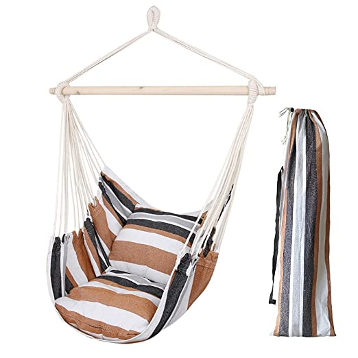 Hamaca sillón colgante de Algodón con 2 Almohada - hamaca silla con soporte para Playa Piscina Jardin Camping, Capacidad 120kg, Marrón