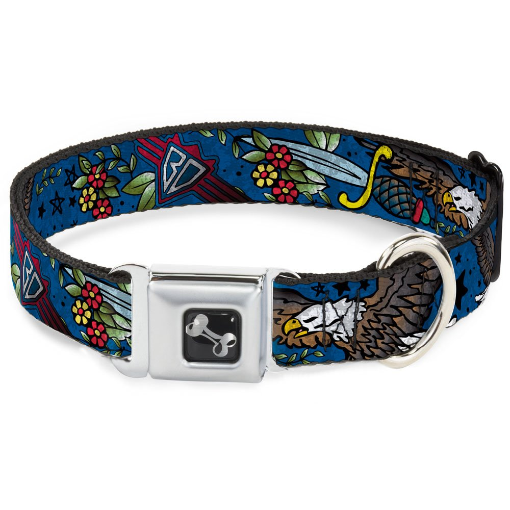 Buckle-Down Seatbelt Buckle Dog Collar Truth and Justice Close-UP bluee 1  Wide Fits 11-17  Neck Medium
