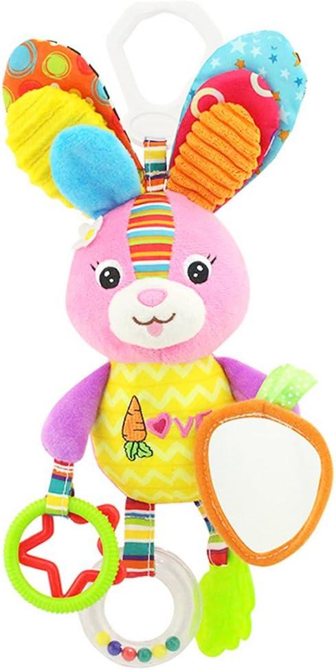 Baby juguete, isuper alta calidad Niño Juguete Peluche Sonajero con anillos para morder, agarre y crepitar de papel, espejo para bebés Niños Pequeños a partir de 0Mes (Parejita de conejo)