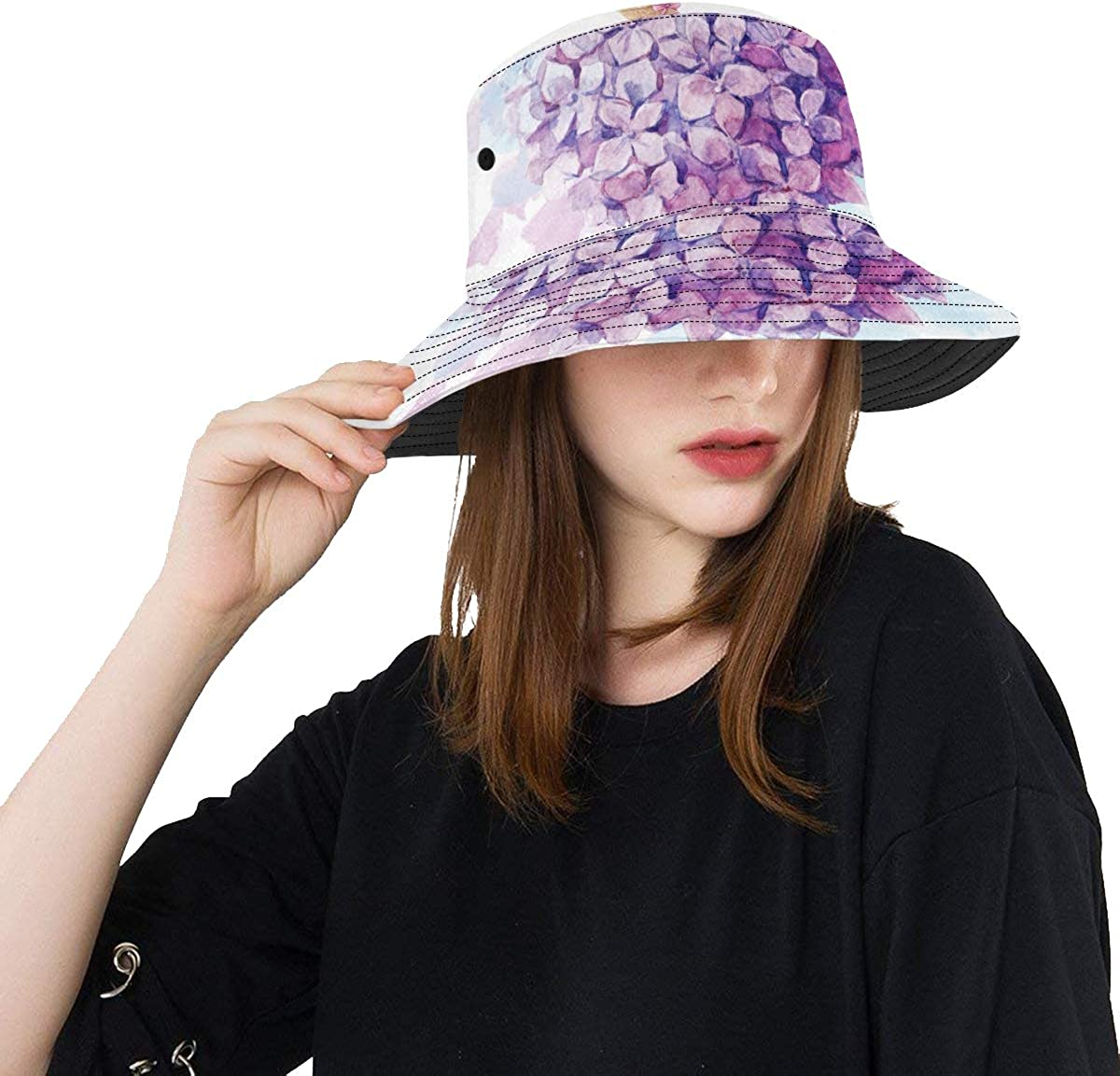 Purple Watercolor Flower Popular New Summer Unisex Cotton Fashion Fishing Sun Bucket Hats for Kid Teens Women and Men with Customize Top Packable Fisherman Cap for Outdoor Travel