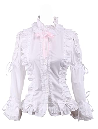 2d37d5d2877f8d antaina Weiß Baumwolle Spitze Rüsche Querbinder Süß Viktorianisch Lolita  Hemd Bluse: Amazon.de: Bekleidung