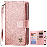 BENTOBEN Galaxy S9 Case, Galaxy S9 Wallet Case, Samsung S9 Glitter Bling Classy Leather Folio Flip Credit Card Holder Wristlet Shockproof Protective Phone Case for Samsung Galaxy S9, Rose Gold/Pink