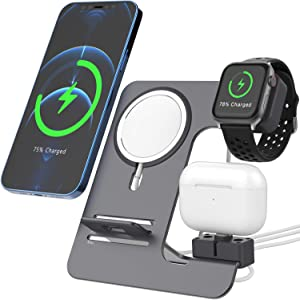 3 in 1 Charger Stand , Aluminum Charger Holder, Compatible with MagSafe Charger Accessories for Apple Watch AirPods/Pro iPhone 12/Pro/Max/Mini, Cell Phone Dock, Cradle, Holder for Office Desk, Gray