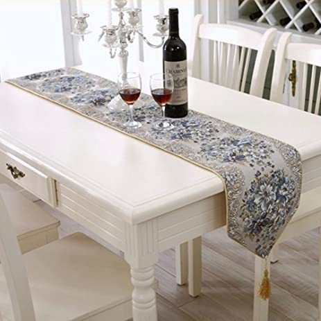 Milesky Embroidery Dining Table Runner Classic European Style Linens  Sequined Lace With Tassels (Blue,