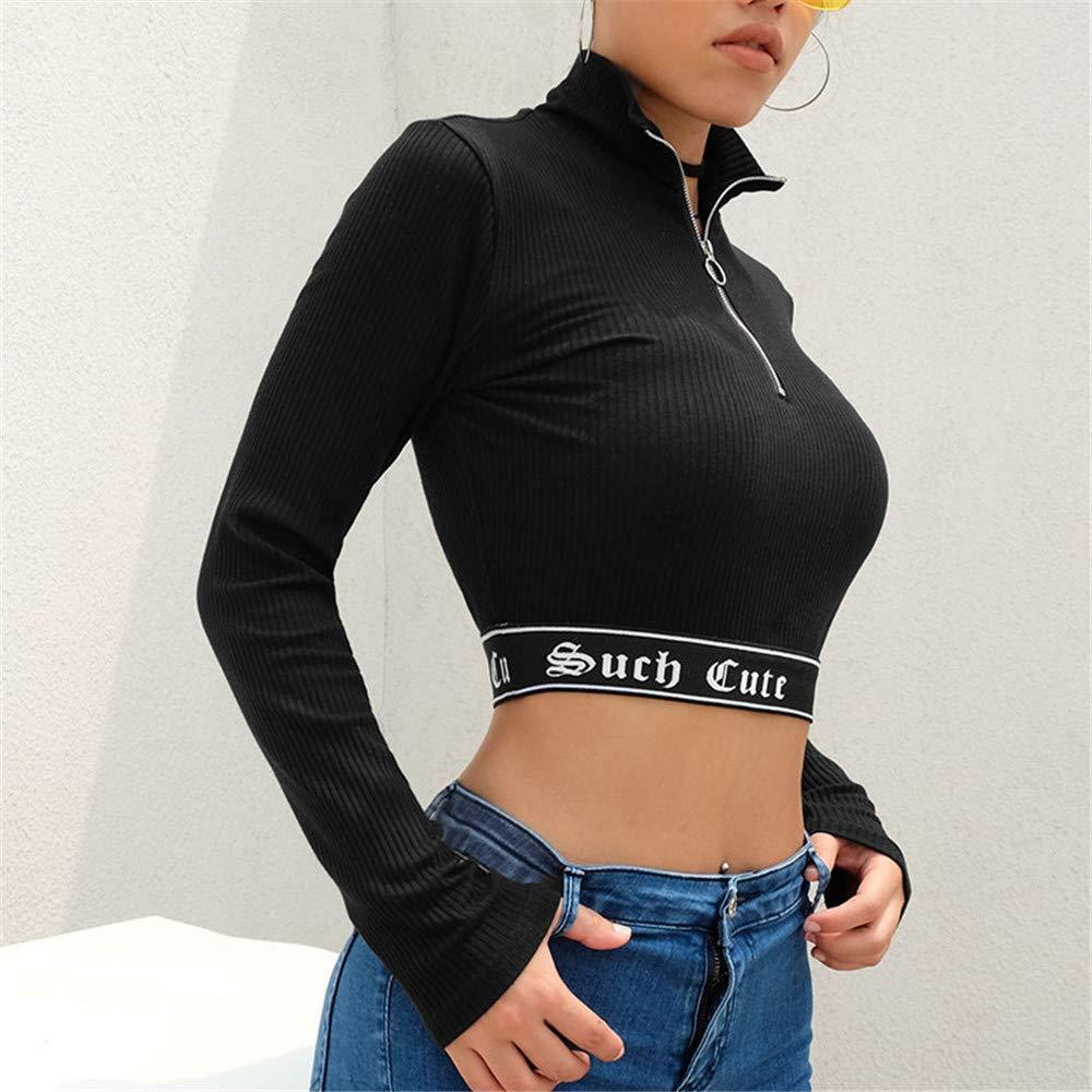 T-Shirt a Collo Alto Manica Lunga a Maniche Lunghe Patchwork da Donna