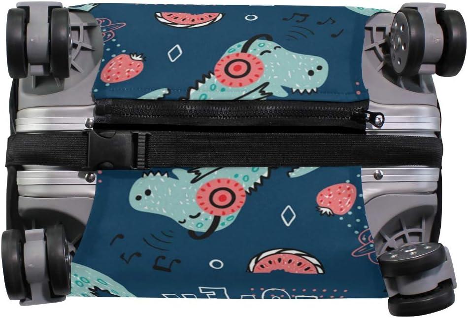 VIKKO Dinosaur Music Lover Travel Luggage Cover Suitcase Cover Protector Travel Case Bag Protector Elastic Luggage Case Cover Fits 26-28 Inch Luggage for Kids Men Women Travel