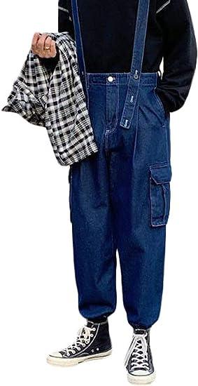 [Bestmood]メンズ ロングパンツ ワイドパンツ デニム サロペット 無地 ポケット付き オールインワン 韓国ファッション メンズ ボトムス 長パンツ ジーンズ
