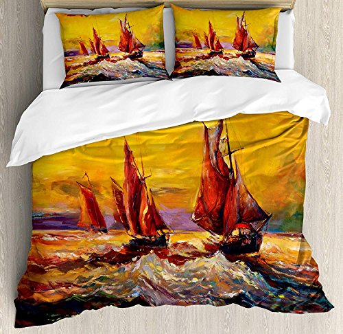 Country 4 Piece Bedding Set Queen Size, Image of Old Sailboats Ships Cruising in Waves at Sunrise Time Dark Sky Art, Duvet Cover Set Quilt Bedspread for Childrens/Kids/Teens/Adults, Yellow Orange