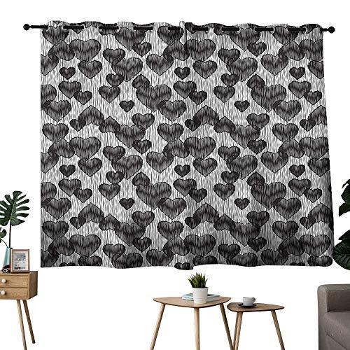 Williasm décor Darkening Curtains Grommets Curtain Backdrop Romantic,Gothic Hearts Tattoo Room/Bedroom, W72 x L45