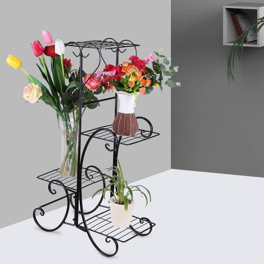Greensen Blumentreppe Metall Blumenst/änder mit 4 Ebenen Pflanzenst/änder Vintage Blumenst/änder Dekoration Blumenregal f/ür innen und au/ßen Garten Balkon Schwarz 84 x 48 x 25cm