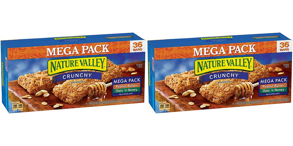 Nature Valley Granola Bars, Crunchy, Mega Pack of Peanut Butter and Oats 'n Honey, 36 Bars (2 Boxes)