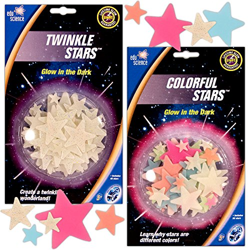 University Games Colorful Twinkle Glow in the Dark Stars Super Set, Ceiling Walls (Over 80 Stars ()