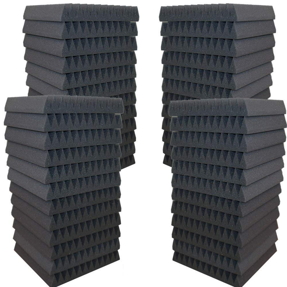 AK TRADING CO. High Acoustic Panels Studio Soundproofing Foam Wedge Tiles 12''L x 12''W x 2''H - Pack of 48 TIles